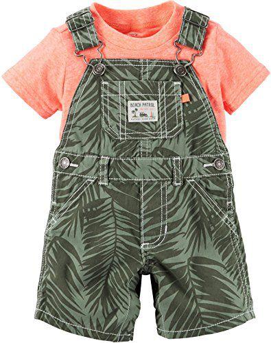 Jardineira com camiseta laranja - CARTERS
