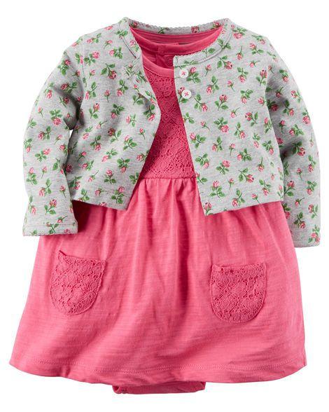 Vestido rosa detalhes em renda com bolerinho cinza florido - CARTERS
