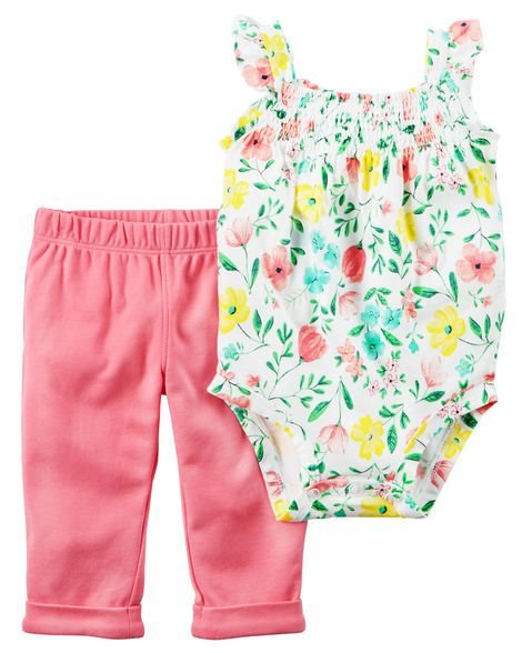Conjunto 2 peças body regata florido e calça rosa - CARTERS