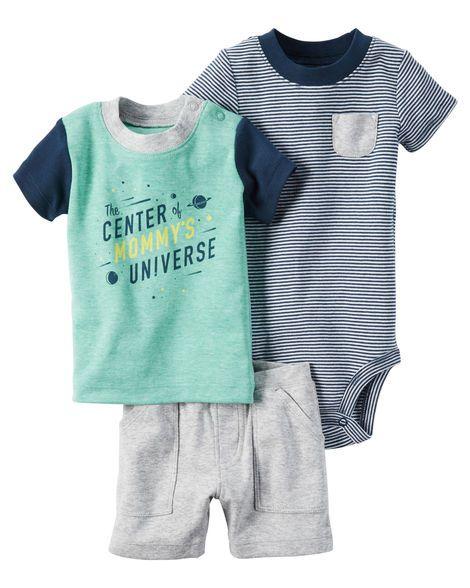 Conjunto 3 peças camiseta verde e azul marinho e body listrado - CARTERS