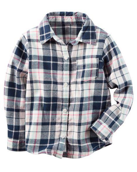 Camisa xadrez em flanela azul marinho e rosa - CARTERS