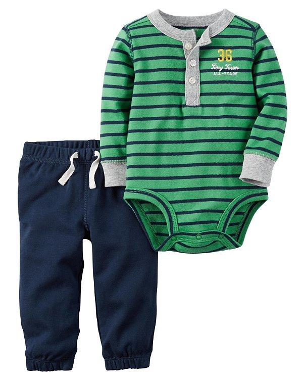 Conjunto 2 peças body listrado manga longa com botões e calça azul marinho - CARTERS