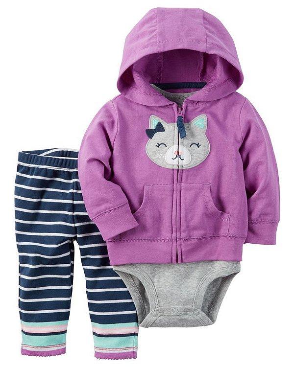 Conjunto 3 peças gatinha com calça legging listrada - CARTERS