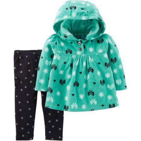 Conjunto 2 peças blusa em fleece com calça legging preta estampada Child of Mine made by CARTERS