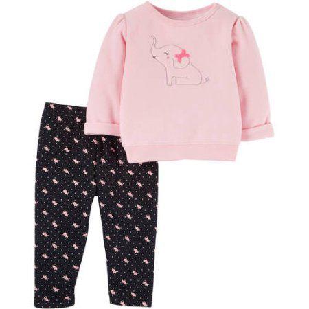 Conjunto 2 peças blusa em fleece rosa e calça preta estampa elefantinhos Child of Mine made by CARTERS