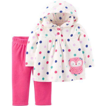 Conjunto 2 peças em fleece blusa bolinhas coloridas Corujinha Child of Mine made by CARTERS