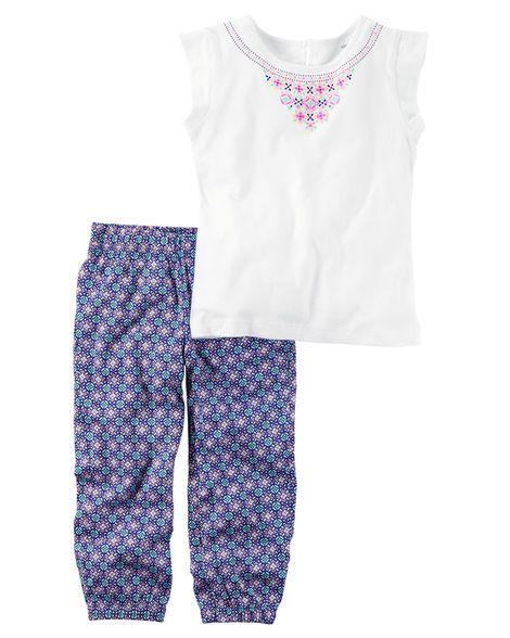 Conjunto 2 peças blusinha branca estampa na gola e calça azul florida - CARTERS