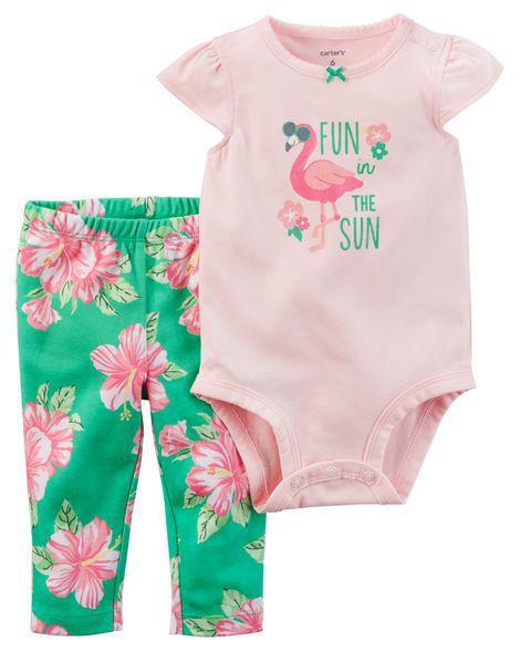 Conjunto 2 peças verde floral e rosa Flamingo - CARTERS