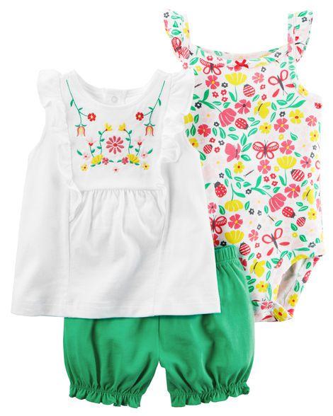 Conjunto 3 peças verde e branco florido - CARTERS