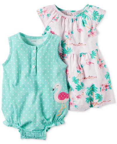 Conjunto 2 peças romper verde Flamingo com vestido floral - CARTERS