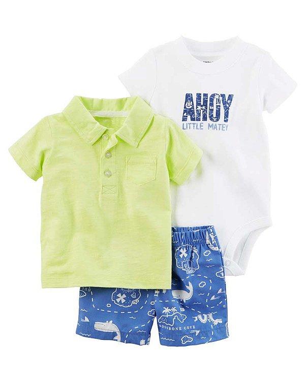 Conjunto 3 peças camiseta polo e short azul estampa marítima - CARTERS