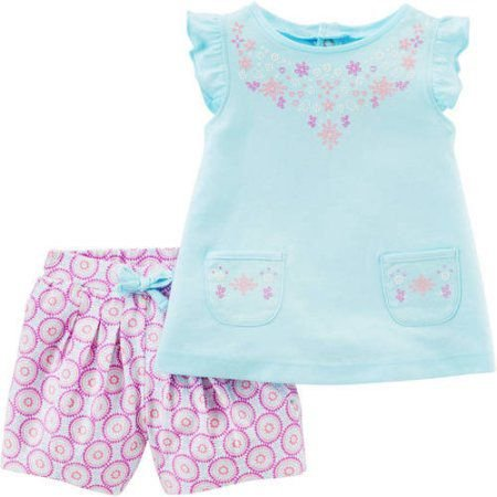 Conjunto 2 peças bata azul e short lilás estampado Child of Mine made by CARTERS