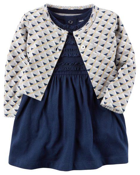 Vestido em malha azul marinho com bolerinho cinza estampado - CARTERS