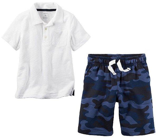 Conjunto 2 peças camiseta polo e short azul camuflado - CARTERS