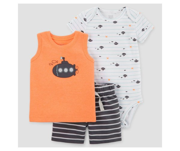 Conjunto 3 peças cinza e neon Submarino Just one You made by CARTERS
