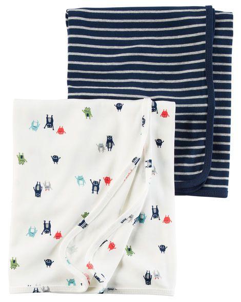 kit 2 mantas em malha azul marinho listrada e branca estampa monstrinhos - CARTERS