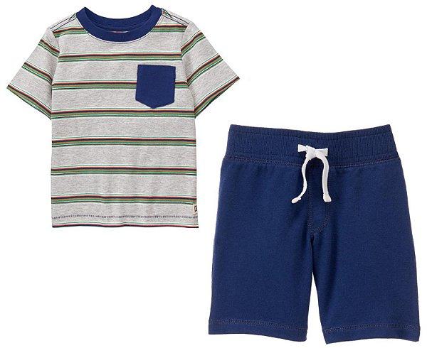 Conjunto 2 peças camiseta cinza listrada com bermuda azul marinho - CRAZY8