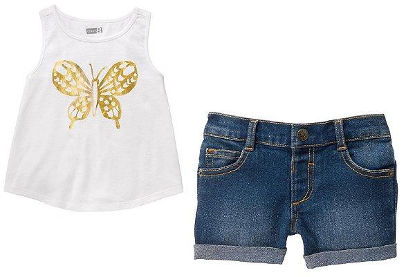 Conjunto 2 peças bata Borboleta dourada com short jeans escuro