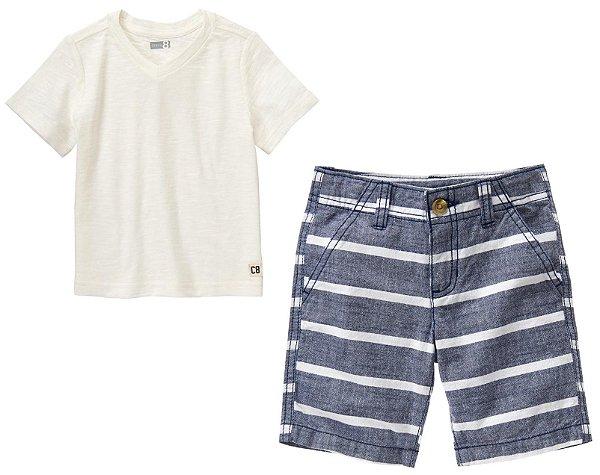 Conjunto 2 peças camiseta gola V com bermuda cinza listrada - CRAZY8