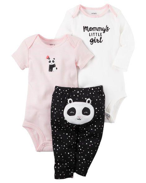 Conjunto 3 peças preto e rosa Panda - CARTERS