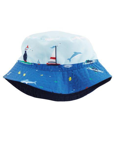 Chapéu reversível azul 2 a 4 anos com proteção UV50+ - CARTERS