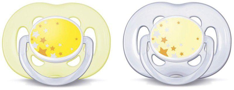 Chupeta Freeflow Noturna Estrelinhas Amarelas com duas unidades  - AVENT
