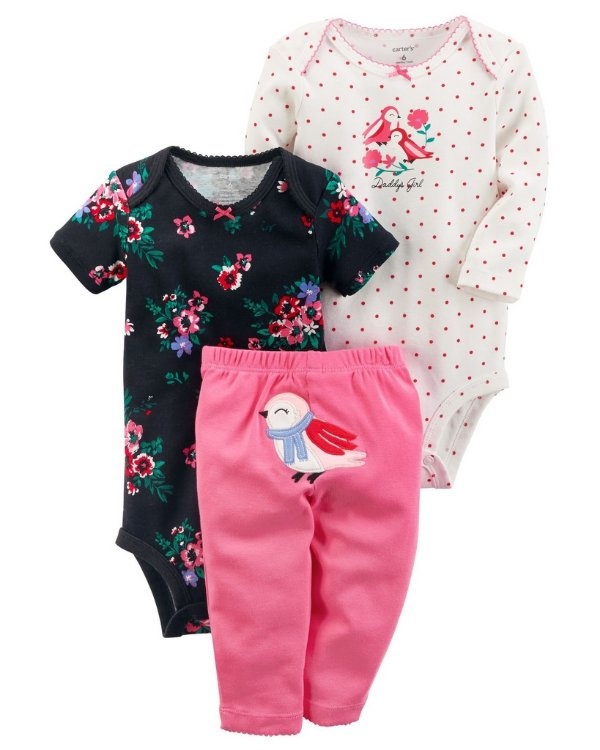 Conjunto 3 peças rosa e preto florido Passarinhos - CARTERS