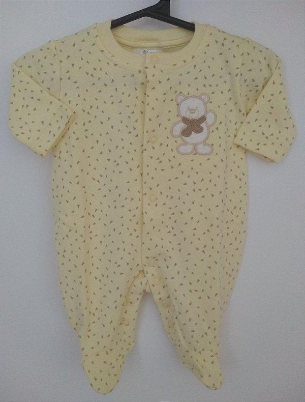 Macacão em malha amarelo Ursinho - BABY FASHION