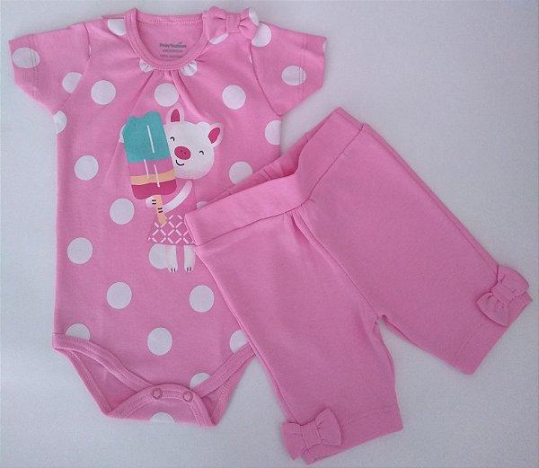 Conjunto 2 peças body rosa Porquinha e bermudinha - BABY FASHION