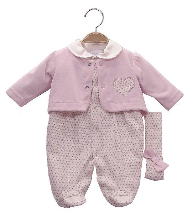 Macacão em malha com casaquinho em plush rosa - BABY FASHION