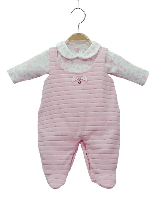 Jardineira rosa em plush com body estampado - BABY FASHION