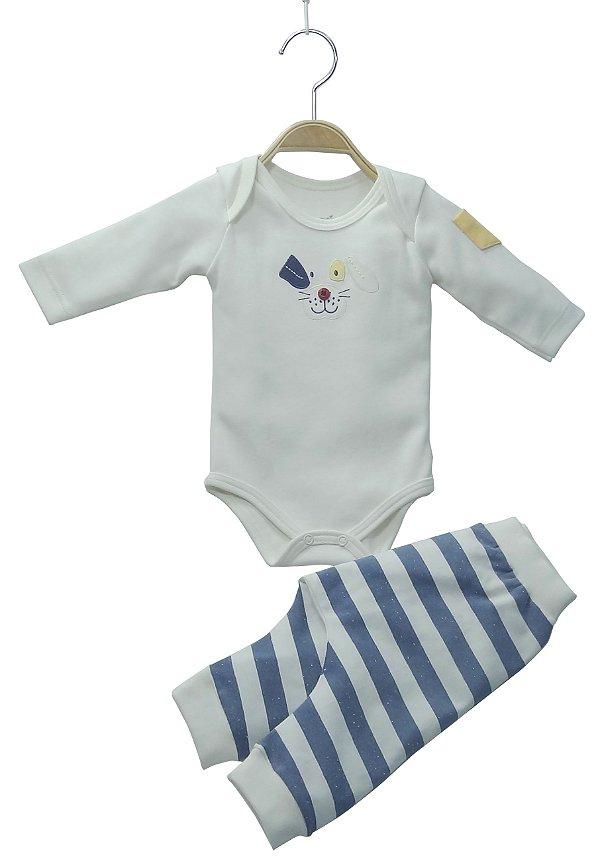 Conjunto 2 peças em malha com calça saruel Cachorrinho - BABY FASHION