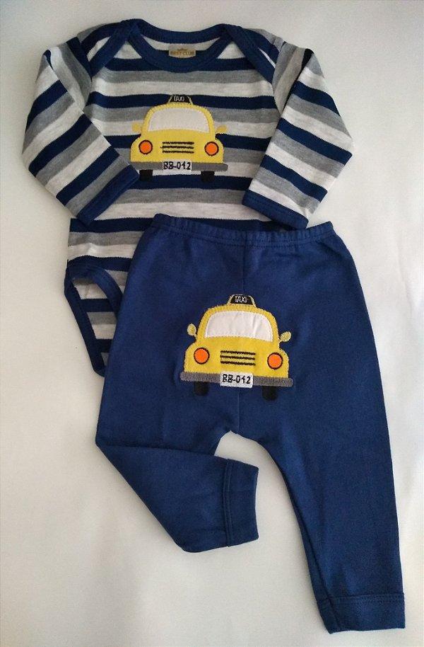 Conjunto 2 peças azul marinho e cinza listrado Taxi - BEST CLUB