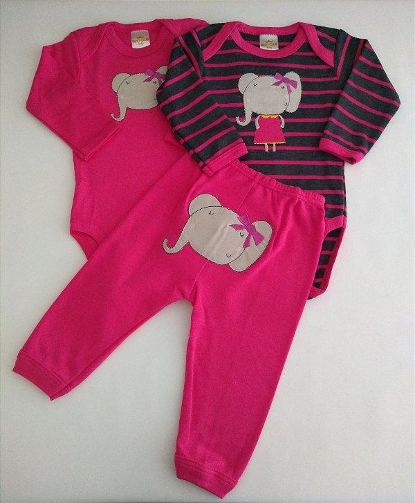 Conjunto 3 peças pink Elefantinha - BEST CLUB