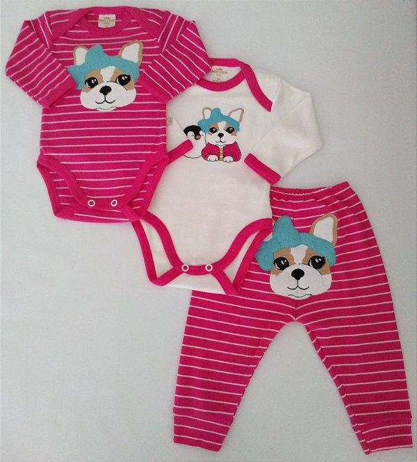 Conjunto 3 peças branco e pink Cachorrinha - BEST CLUB