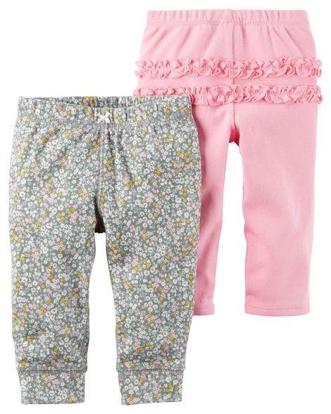 Conjunto 2 calças em malha cinza florida e rosa - CARTERS