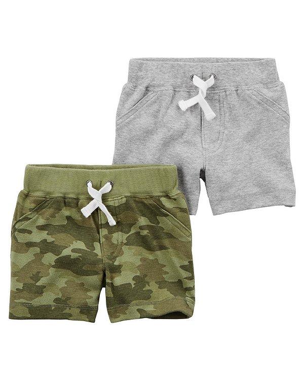 Conjunto 2 shorts em malha cinza e camuflado - CARTERS