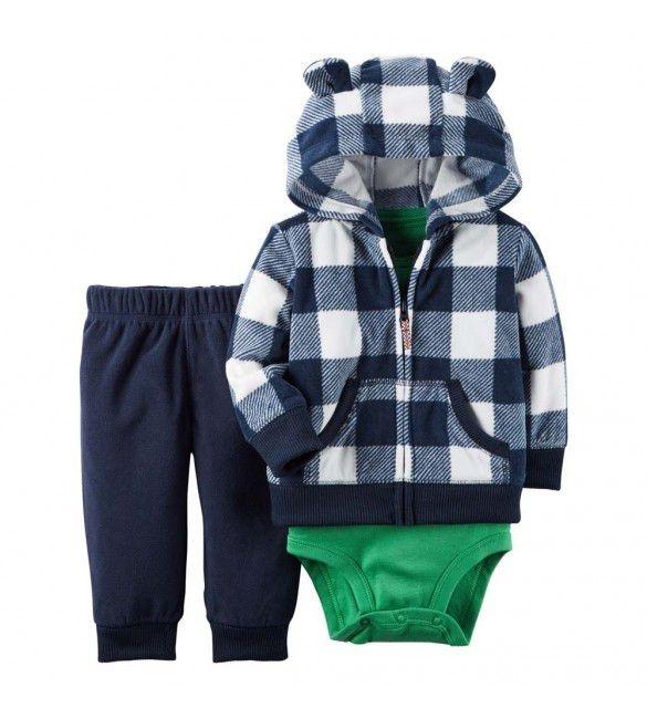 Conjunto 3 peças xadrez azul marinho e body verde casaco e calça em fleece- CARTERS