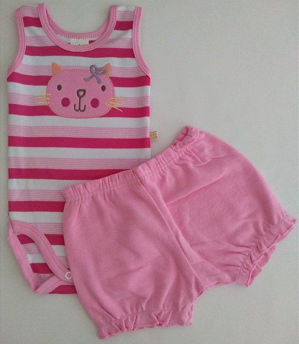 Conjunto 2 peças body regata pink listrado Gatinha - BEST CLUB