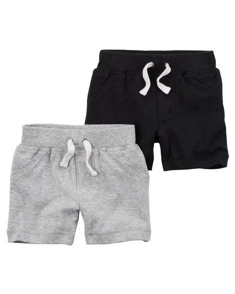 Conjunto 2 shorts em malha preto e cinza - CARTERS