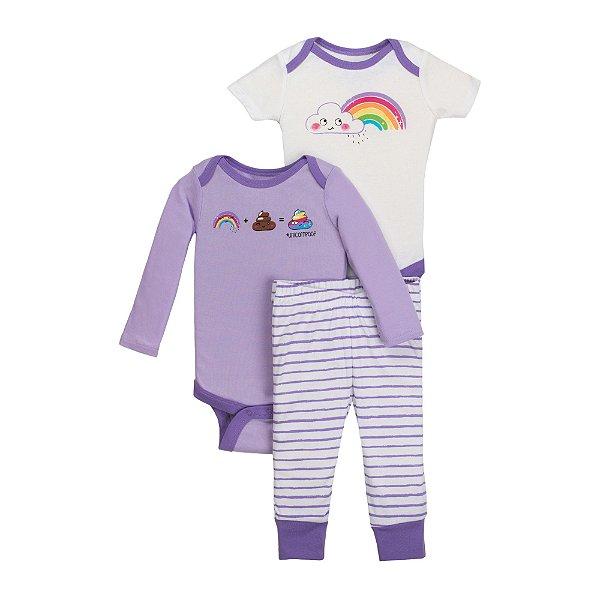 Conjunto 3 peças algodão orgânico branco e lilás Arco íris - Little Star Organic