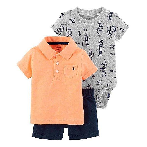 Conjunto 3 peças laranja e azul marinho - CARTERS