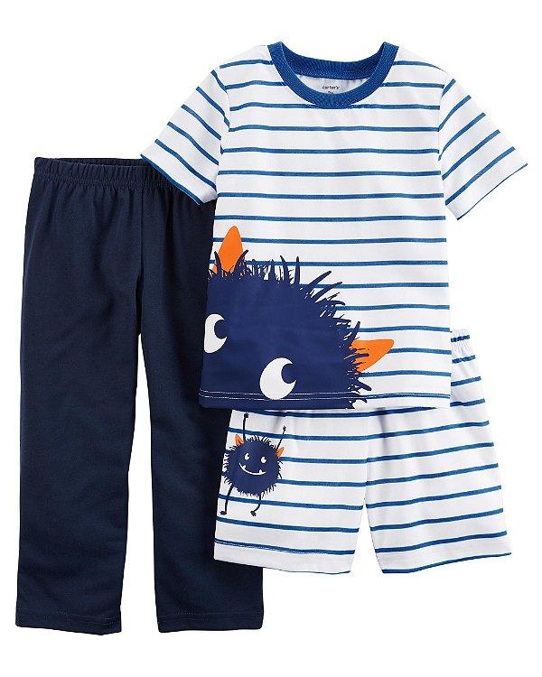 Conjunto pijama 3 peças Monstrinho Azul - CARTERS