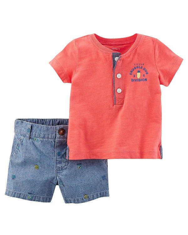 Conjunto 2 peças camiseta com botões e short em chambray - CARTERS