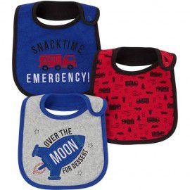 Kit babador 3 unidades azul e vermelho Bombeiro Child of Mine made by CARTERS