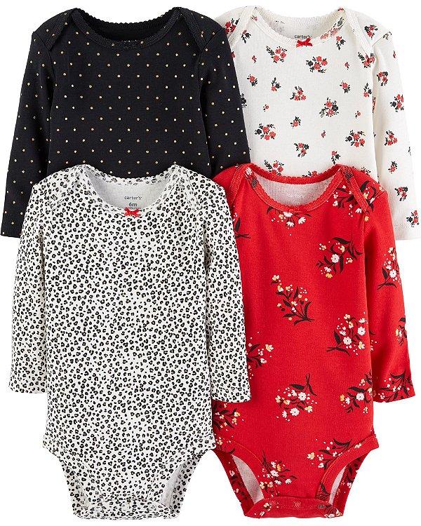 Kit body 4 peças preto e vermelho florido - CARTERS