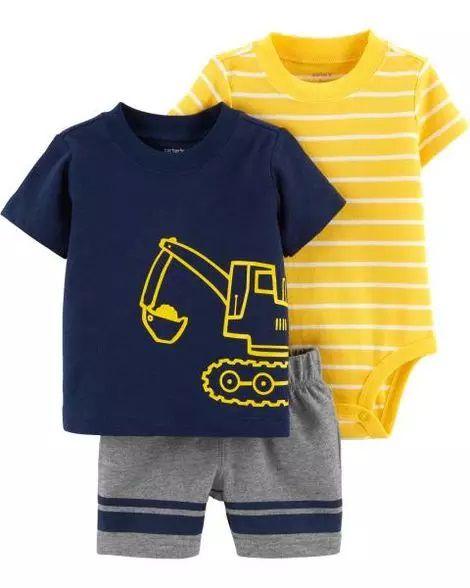 Conjunto 3 peças azul marinho e amarelo Trator - CARTERS