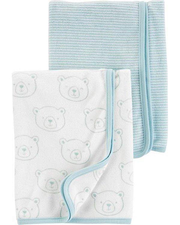 kit 2 mantas em tecido atoalhado azul e branco Ursinhos - CARTERS