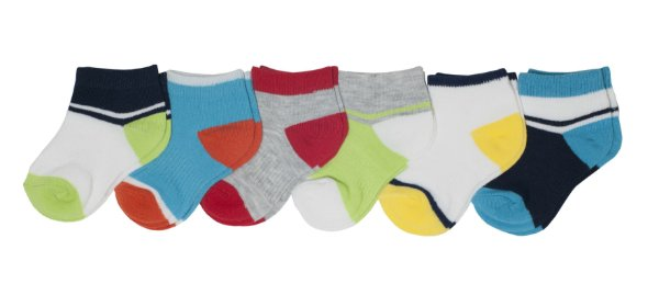 Kit 6 pares de meias coloridas 6-18 meses - GARANIMALS