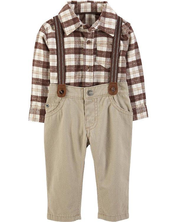 ec080be9f134 Conjunto 2 peças calça com suspensório e body camisa em flanela - CARTERS